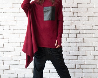 Burgundy Loose Tunic/Long Sleeve Extravagant Top/Black Leather Pocket Tunic/Asymmetric Wine Shirt/Oversize Loose Blazer/Plus Size Top
