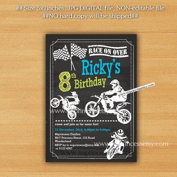 Dirt bike invitation birthday invitation biker party boy filmwisefo