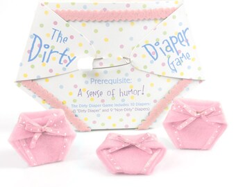 Dirty Diaper Game - Pink Girl Baby Shower Games - Fun Baby Shower Game - Messy Diaper Baby Shower Game - 10 pc. (1 Winner per Pack)