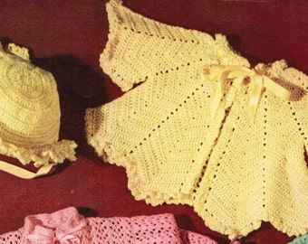Fan Pattern Crochet baby jacket and hat set PDF pattern / baby outfit pattern / Vintage baby sacque and hat pattern