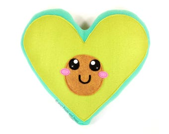 Avocado Plush Toy, Heart Shaped Pillow, Avocado Cushion, Food Home Decor, Cute Kawaii Plushie, Baby Shower Gift, Holy Guacamole, Avo Fiesta