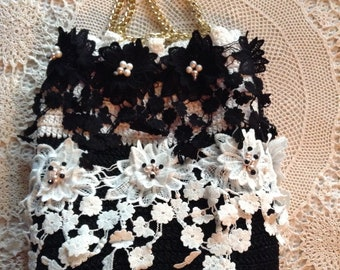 bag pouch bag romantic crochet french lace embroidered black and white delicate piece of art wedding fashion design  unique by golden yarn