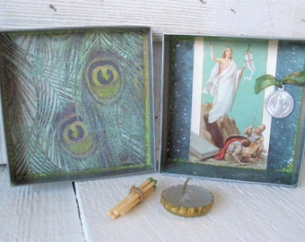 Pocket shrine prayer box Christian Mary icon blue upcycled embellished saint medals/ free shipping US