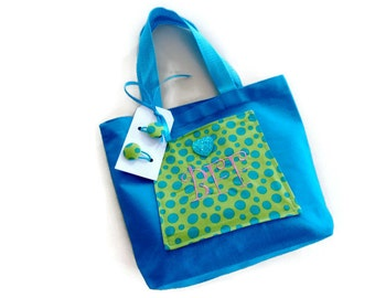 Tote Hand Bag, Personalized BFF Purse With Pockets & Free Hair Ties, Aqua Blue, Lime Green and Polka Dot, Gift For Girls