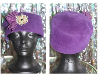 80's Purple Wool  Pill Box Hat *Excellent Condition