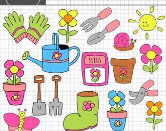 Flower Clip Art, Digital ClipArt, Garden ClipArt, Gardening Clip Art, Floral ClipArt, Gardening Tools Digital, Card Making Digi