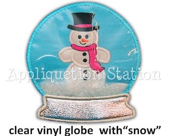 In the Hoop - 3D VINYL Snow Globe Snowman Applique Machine Embroidery Design Snowglobe INSTANT Download