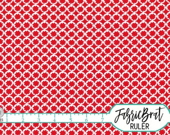 RED FLORAL GEOMETRIC Fabric by the Yard, Fat Quarter Red & White Circles Fabric 100% Cotton Fabric Apparel Fabric Quilting Fabric w6-7