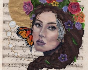 PRINT - Spring Blossoms - hand embellished fine art print