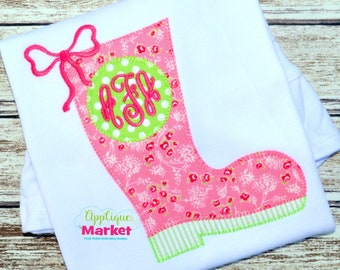 Machine Embroidery Design Embroidery Rain Boot Monogram Applique INSTANT DOWNLOAD