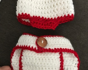 Baby baseball hat and diaper cover