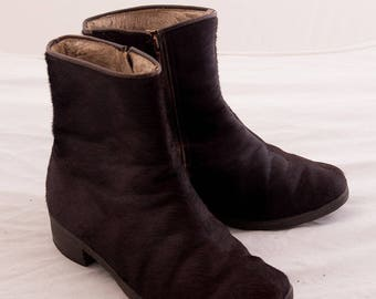 Dark Brown Fur Leather Winter ankle Boots  / Moonboots Snowboots / Fur Ankle Boots / Vintage boots /  Size UK5,  EU 37/38, US 7