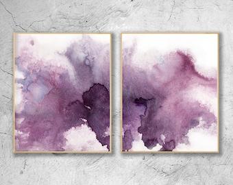 Modern Purple Watercolor Print Set Of 2, Abstract Watercolour, Modern Art Set, Scandinavian Art ,Purple Contemporary Art , AbstractArt Set