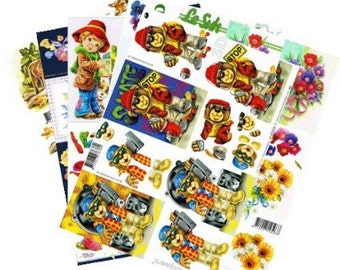 12 mixed random sheets picture sheets decoupage 3d , decoupage prints ideal for cards, invites etc