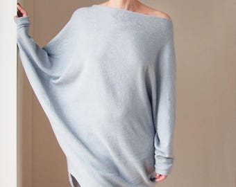 Long Off Shoulder Sweater Offshoulder Sweater  Light Sweater Slouchy Sweater  Sweatshirt Cozy Sweatshirt Oversized