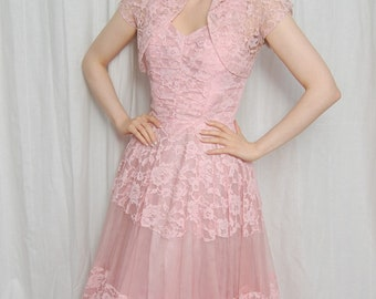 A Truly Adorable Frothy Pink 1950s Confection of Perfection Prom Gown With Matching Bolero! *As is*