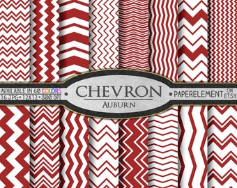 Auburn Red Chevron Digital Paper Pack - Instant Download - Chevron Paper for Digital Scrapbooking