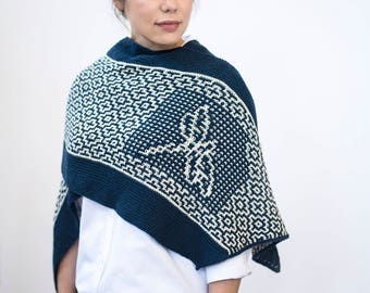 INSTANT DOWNLOAD PDF Knitting Pattern for Women's Texture Shawl Wrap Rectangular Long with Mosaic Garter Throw Cover Dragonfly Tombo