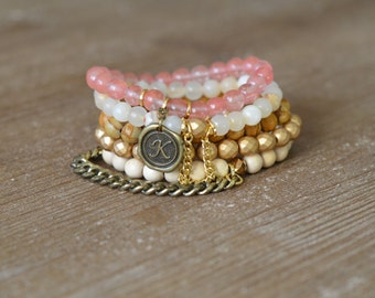 CLOSEOUT Sunny Stack - Beaded Stretch Bracelet Stack - Rose Quartz Bracelet - Wood Bead Bracelet - Arm Candy Bracelets - Charm Bracelet Set