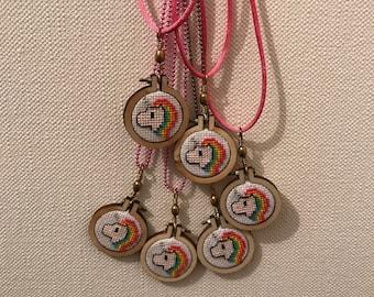 Cross stitch necklace / Cross Stitch - Unicorn.