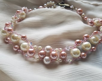 Pink and white pearls, crystals, and seed bead woven statement choker