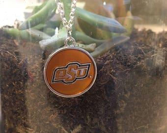 Oklahoma State University jewelry, Cowboys necklace, college necklace, college jewelry