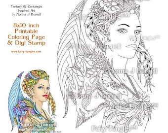 Dragon Queen Fairy and Dragons Printable Coloring book Sheets  & Digi Stamps Norma J Burnell Fantasy Coloring Book Pages Dragons to color