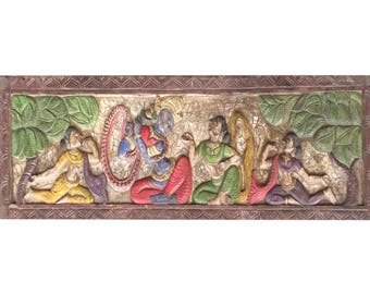 UNIQUE Handmade Artisan Crafted Conscious design Vintage Carved Krishna Radha Headboard Wall Sculpture, Yoga, mediation Altar Decor