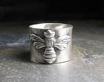 Queen Sie Bee Ring Hummel Honig Biene Sterlingsilber Schmied Natur Schmuck Insekten - The Silver Queen