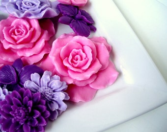 Lavender and Pink Soap Flowers