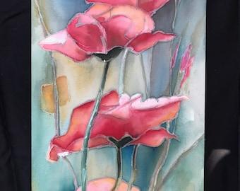 Red Poppies    12 x 20    Original Watercolor Batik