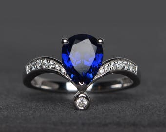 blue sapphire ring engagement ring pear cut blue gemstone sterling silver ring September birthstone