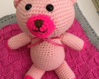 Crocheted Teddy and Blanket set; Teddy and Blanket Set for Baby; Stuffed Toy and Baby Blanket Set