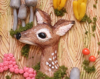 Oh deer! deer and slimemold forest 3D clay art painting