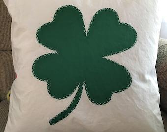 """GREEN SHAMROCK  16"""" handmade sail cloth pillow, topstitched emblem"""