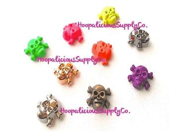 8 Metal Skull Screw Back Studs- YOU CHOOSE COLOR. Brass. Hot Pink. Neon Green. Neon Yellow. Purple. Neon Orange. Gold. Silver. Gun Metal.