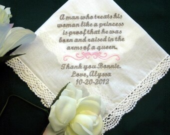 Mother of Groom -  Personalized Wedding Handkerchief - Custom Hanky for Mom- Wedding Gift - Groom - Embroidered - Elegant - Personal 134S -