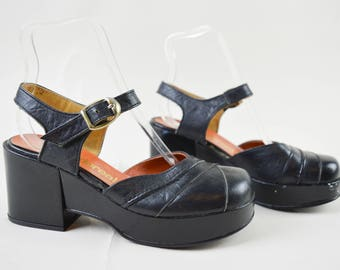 70s Black Ankle Strap Dolly Shoes Wedge Sandals UK 3 / US 5.5 / EU 36