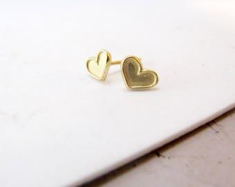 Gold stud earrings, Tiny gold earrings, Tiny stud earrings, Solid gold earrings, Gold heart earrings, Gold boho earring, Second hole earring