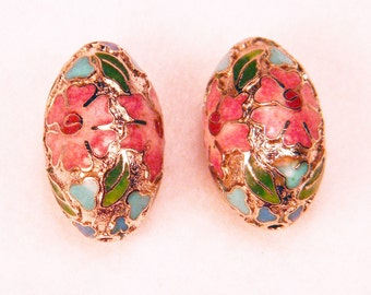 "Pair 1"" Floral Cloisonne Beads w/ Silver Pink Blue & Green Colors"