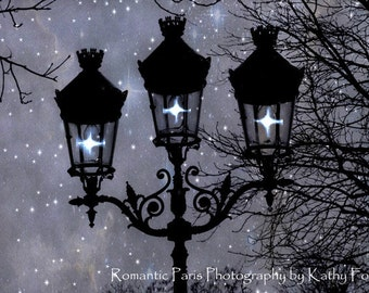 Paris Night Photography, Paris Street Lamps Fairy Lights, Paris Lanterns Print, Sparkling Paris Lanterns, Paris Fairy Lights Night Lanterns