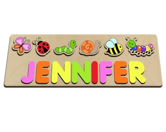 Spring Time Little Critters Personalized Wooden Baby Name Puzzle Great For Kids Long Names Bee, Catapillar, Snail, Worm, Ladybug 604548889