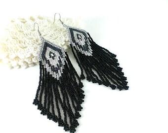 Statement Jewelry Black silver earrings Large earrings Beaded earrings Dark earrings Gothic earrings Evening earrings Fashion earrings