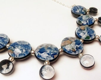 Day and Night Earth and Moon Necklace, Double Sided, Sterling Silver