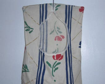Vintage Red Floral and Blue Stripe Clothespin Bag/Hanger with 15 Wood Spring Loaded Clothespins Included