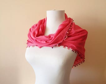 Traditional Turkish Scarf, Anatolian Scarf, Pink Yemeni Scarf, Pink Yazma, Crochet Egde Turkish Scarf, Dark Pink Square Scarf