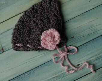 Girl's Crochet Flower Bonnet Size Newborn