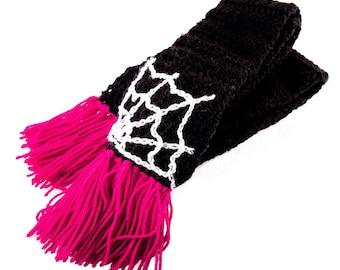 Spider Web Scarf, Cobweb Scarf, Goth Scarf, Black Scarf, Crochet Scarf, Gothic Winter Scarf, Spiderweb Scarf, Acrylic Scarf, Halloween Scarf
