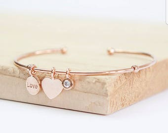 bracelet expandable adjustable ryyh charm graduation personalized compass rose gold fullxfull charms bangle il letter listing with initial bangles
