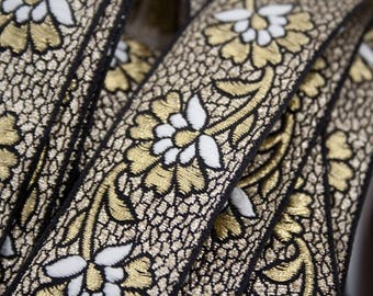 Jacquard Ribbon, Floral, Black White Gold, Cotton Polyester, 3 cm x 100 cm